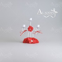 Factory direct sales luxurious crystal candelabra 3 arms red color candle holder for wedding decoration