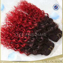 red color India remy hair two tone color remy human hair dark red color human big curly hair weaving