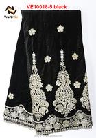 Black velvet fashion design velvet lace dress fabric of VE10018-5 black