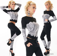 sexy women black tracksuit tops and pants in lace suits