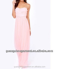 2015 fashion women strapless backless plain color pleated A line gown prom chiffon long dress