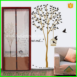 Brown Bug out Magnetic Screen Door with lace/Soft Screen Curtain