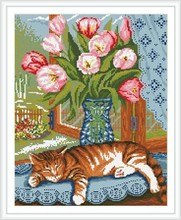 diy art diamond painting animal cat and flower picture GZ079