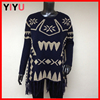 gold yarn trible knitted pattern ladies loose pullover