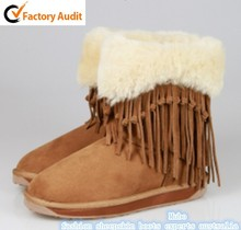 2015 Hot Sale Just Womens Fringed Sheepskin Boots