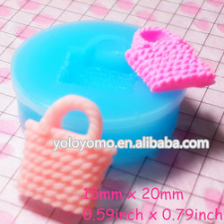 FYL005 Lady Bag Silicone Mold Flexible Mold, Miniature Food, Sweets, Jewelry, Charms (Clay Fimo Resin Fondant)