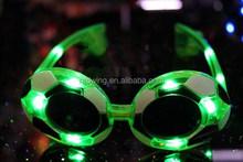 Costume Party Green Light Soccer Shape Frame LED Glasses for Promotion