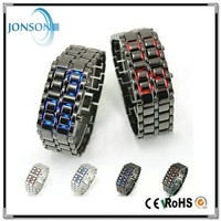 China factory price wholesale fashion 3ATM red blue light Waterproof Lava Style Iron Samurai All Metal Red LED Watches