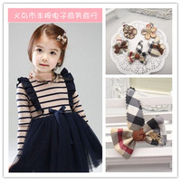 boutique dresses decoration for baby girls Popular Grid Cloth Hair Clips Cute Bow Girls Side Clips classic fashion