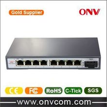 9-Port PoE Switch, 4x 60W super high power PoE &1 fiber port, 250W of total power(Built-in), special for high-speed dome