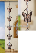 Metal Butterfly Cup Rain Chain For Garden Or Home Decoration