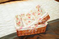 Cheap handmade square lined wicker storage basket