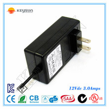AC to DC Wall Power Supply Adapter 12V DC 3A 5.5mm 2.1mm for For 110V- 240V AC 50/60Hz Plug