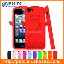 Set Screen Protector And Case For Iphone 5 / 5S , Silicone Colorful Angel Case
