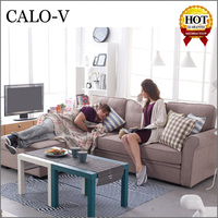 Calo 2015 new living room furniture modern fabric storage l shape sofa set designs with drawer