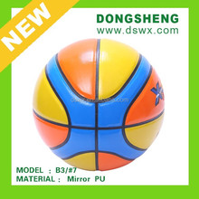 official size 7 basketball 12 panels multi-color shinny PU leather basketball wuxi