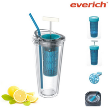 High quality reusable double wall plastic tumbler with straw
