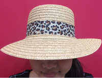 woven straw hat with camouflage band