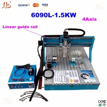 CNC 6090 4 Axis engraving Machine with 1.5KW VFD water cooled spindle, CNC Milling machine