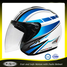 DOT FUSHI Light blue adult open face motorcycle helmet