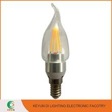 CE RoHS E14/E27/B22 Aluminium & Glass 4W Candle Light Gold Silver Led Filament Candle Bulb
