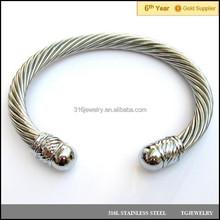 7mm adjustable stainless steel wire rope open ball head bangle men charm bracelet gift (JS-086)