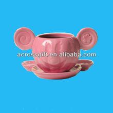 cut pink mouse head ceramic mugs set