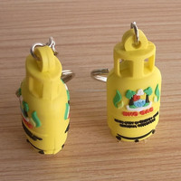 plastic pvc 3D key chain for gas tank , 3D gas cylinder rubber key chain