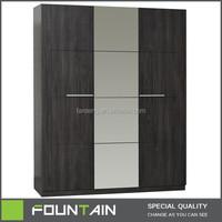 Customized Melamine Bedroom Furniture with Mirror 3 Doors Wood Wardrobe Modern Wood Bedroom Wardrobe