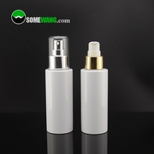 100ml/3.3oz PET plastic controlling and ance removing back skin lotion bottle with sliver/gold pump and clear cover