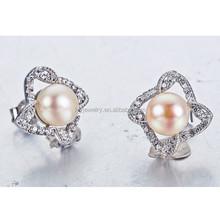 925 joyas de plata pendiente craft con verdadera perla