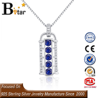 In stock availabe elegant synthetic blue sapphire jewelry , 5 blue stone silver jewelry pendant