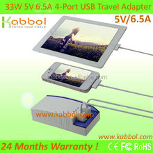 Kabbol 48W 5V 9.6A 4-Port Family-Sized Desktop USB Charger for iPhone 5s 5c 5; iPad Air mini; Galaxy S5 S4; Note 3 2; the new HT