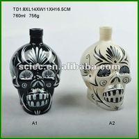 Glass Skull Wine Bottle