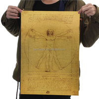 Leonardo Da Vinci Manuscripts Vitruvian Man Nostalgic Retro Kraft Paper Posters Adornment Picture Stickers Core Man Poster