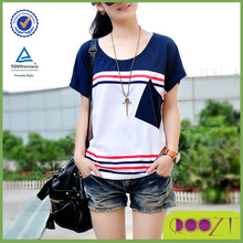 2015 New arrive summer popular cotton t-shirts woman cheap stripe custom pocket t-shirt