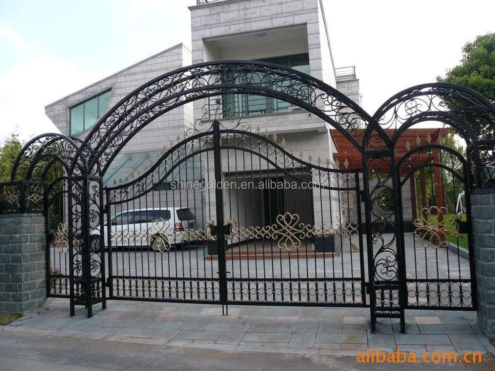 New design modern garden artistic wrought iron gate view