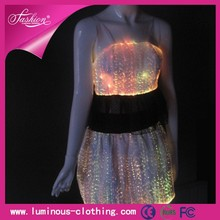 High Shining In Night Yong Girls Fashion RGB LED Light Clothes Short Ballroom Dance Skirts Party Wear Clubwear Gogo
