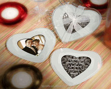 Factory direct sales heart shaped glass photo insert coaster