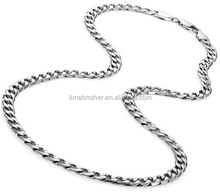 Classic Mens Necklace 316L Stainless Steel Cable Twist Chain Necklace Steel Color