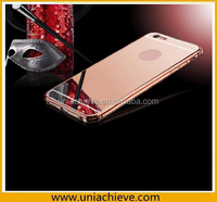Rose Gold Clear Mirror With Metal Bumper Back Shell Hard Case Cover for iphone 6S/iphone 6S plus