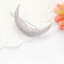 Newest Crystal Moon Rhinestone Hair Accessories Hair Clips For Girls Headdress Hairpin