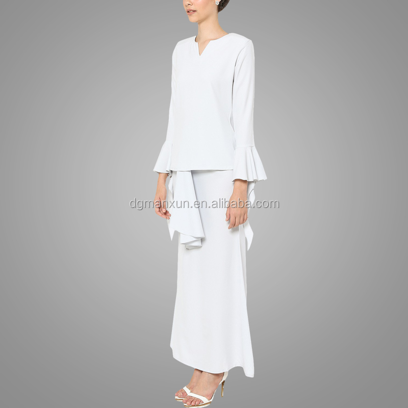 Newest white muslim women baju kurung wholesale islamic plus size women clothing2.jpg