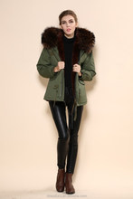 2015 Womens Custom Designer Real Fur fleece lined winter Parka Coat & Jacket