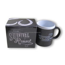 Best Selling 11oz Promotional Chalkboard Mugs color inside and rim chalk mug