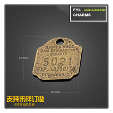 latest ZH4642 zinc alloy metal plating green bronze sculpture English number plate polygon pendants Thai Silver Jewelry Accessor