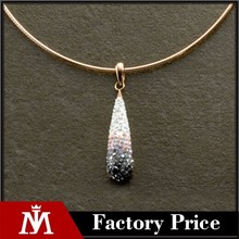 New Fashion Stainless Steel Rose Gold Choker Necklace with Crystal Pendant Wedding Jewelry