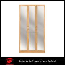 Ikea barato mais recente Design espelhado de madeira 3 portas cama guarda-roupa