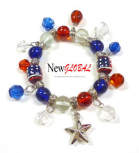 Hand made USA Red White Blue American Glass Beaded Stretch Bracelet