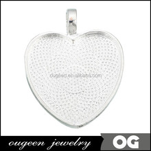 1 Inch Silver plated Heart shaped Pendant Setting, 25mm Silver Plated blank journey pendant settings